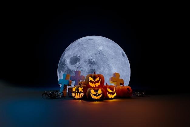 Calabazas araña y luna elemento de composición de halloween