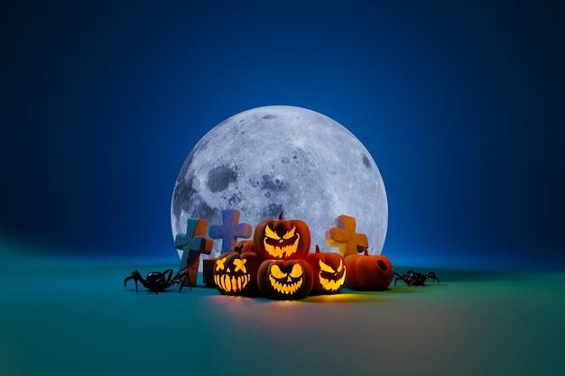 Calabazas araña y luna elemento de composición de halloween Foto Premium
