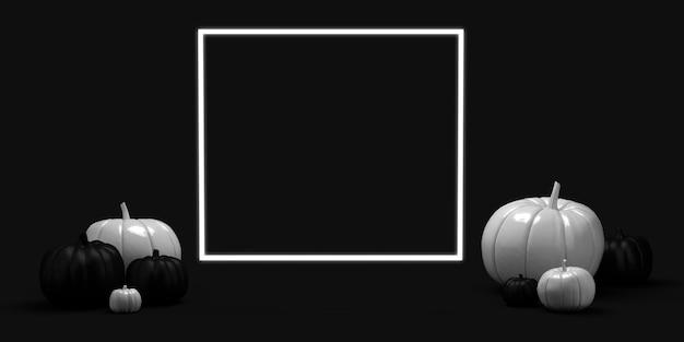 Calabazas en blanco y negro con marco cuadrado para texto ilustración 3d espacio de copia