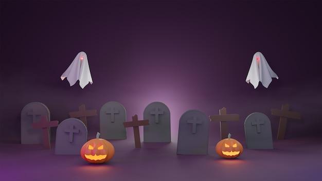 Calabazas, fantasmas y crucifijo en cementerio con niebla