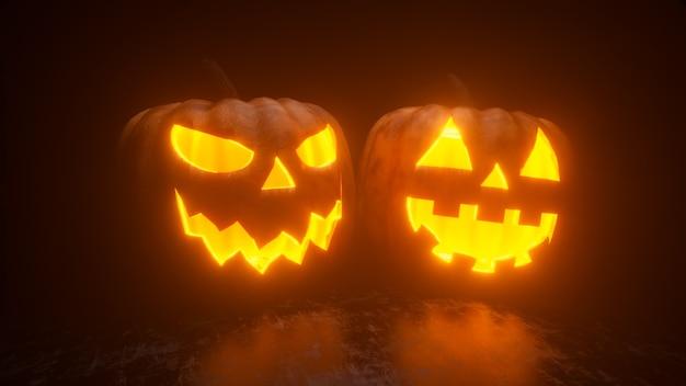 Las calabazas de halloween están ardiendo, brillando y brillando desde adentro. decoración festiva de terror.