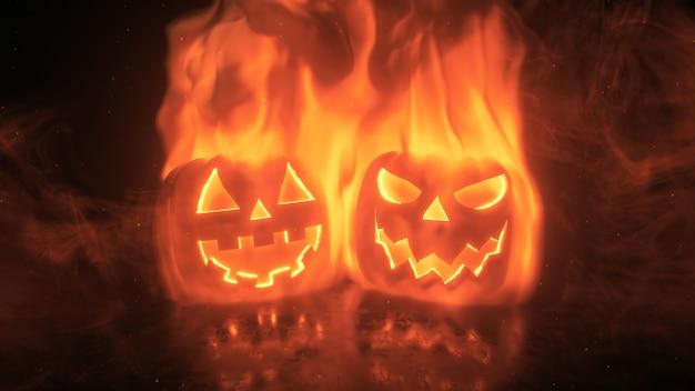 Las calabazas de halloween están envueltas en poderosas llamas, brillan y brillan. decoración festiva de terror.