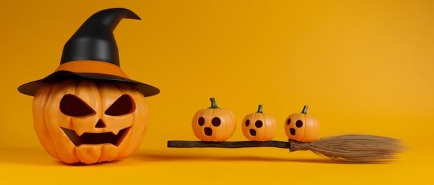 Calabazas de halloween sonriendo con sombrero de bruja y escoba sobre fondo amarillo 3d rendering ilustración 3d