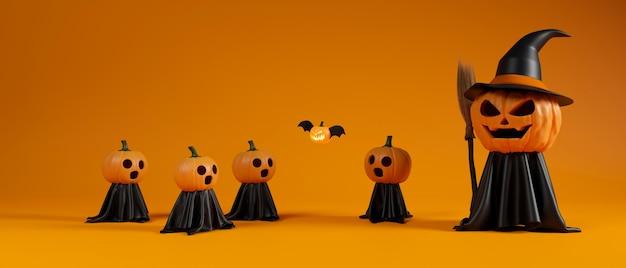 Calabazas de halloween sonriendo con traje de bruja y escoba sobre fondo naranja 3d rendering ilustración 3d