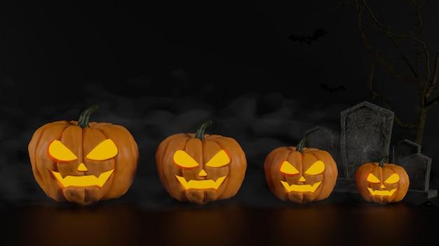 Calabazas de halloween sonriendo y tumba sobre fondo oscuro 3d rendering ilustración 3d
