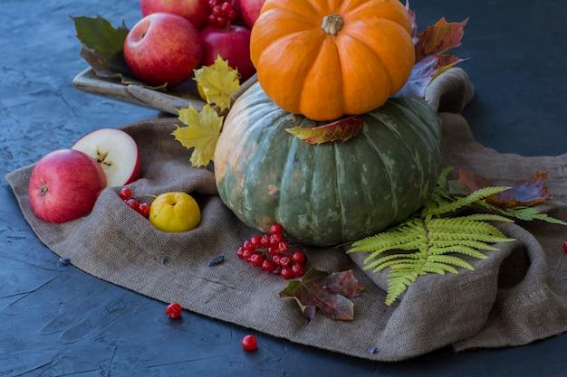 Calabazas, manzanas, bayas, hojas de otoño sobre una mesa oscura