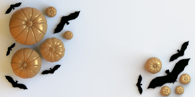 Calabazas y murciélagos sobre fondo blanco banner plano de halloween para anuncios de fiestas o ventas de compras