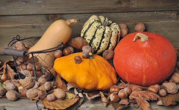 Calabazas otoñales y frutos secos.
