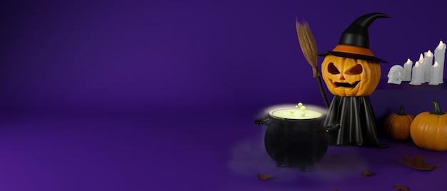Calabazas sonrientes espeluznantes de halloween en traje de bruja y caldero sobre fondo púrpura ilustración 3d de renderizado 3d