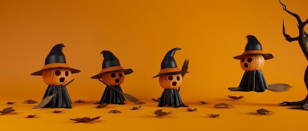 Calabazas sonrientes de halloween con escoba de disfraz de bruja y árbol seco sobre fondo naranja representación 3d