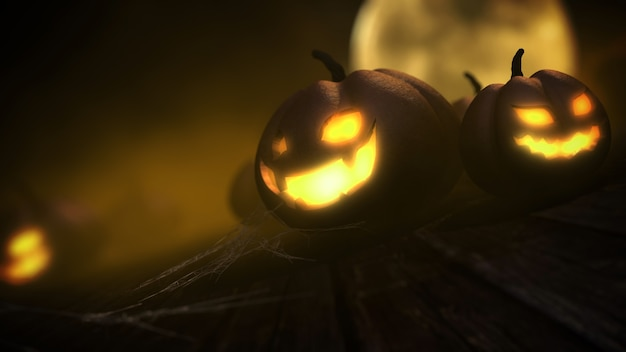 Las calabazas talladas aterradoras se enfrentan a la luz brillante con la luna en la representación 3d del fondo de la noche de halloween