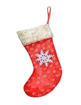 Calcetín de navidad rojo acuarela con un copo de nieve sobre fondo blanco.
