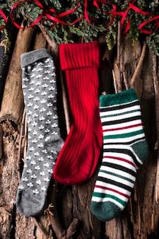 Calcetines navideños listos para dulces