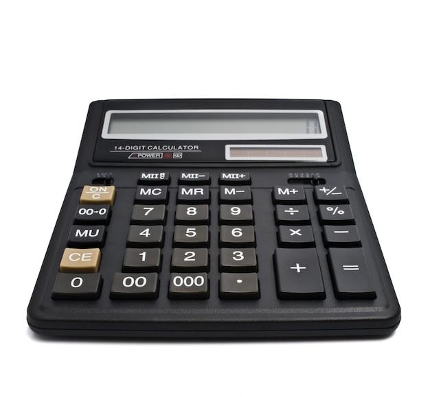 Calculadora de oficina negra aislada sobre blanco