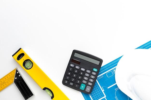 Calculadora de vista superior con espacio de copia