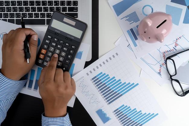 Calcular los números, gráfico de contabilidad financiera financiera con diagrama de red social