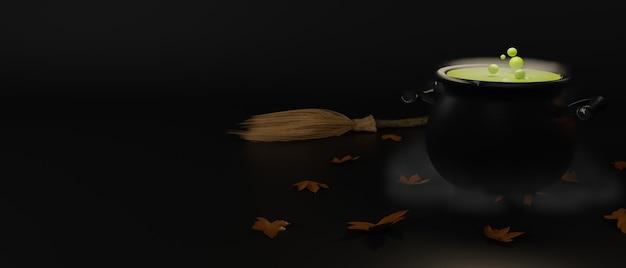 Caldero de bruja y escoba aislados en fondo oscuro, concepto de halloween, renderizado 3d, ilustración 3d