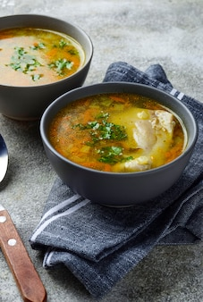Caldo de pollo o sopa con vegetales