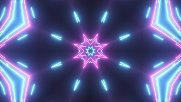 Caleidoscopio brillante abstracto futurista con líneas luminosas