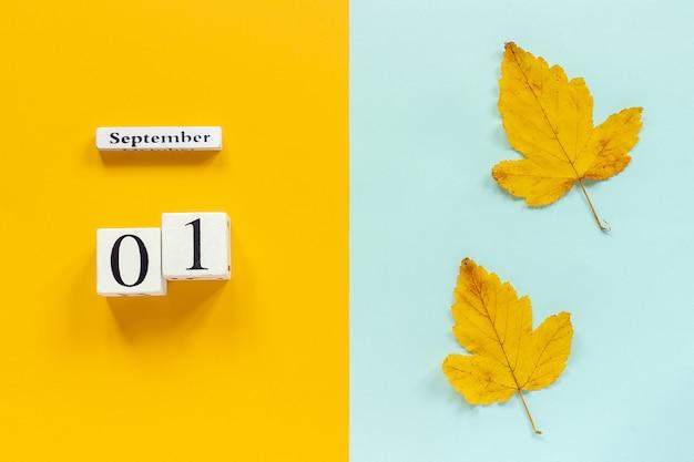 Calendario 1 de septiembre y hojas amarillas de otoño en azul amarillo