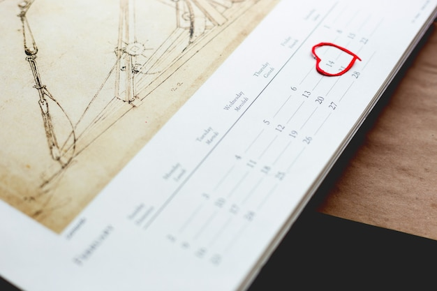 Calendario, 14 de febrero. día de san valentín