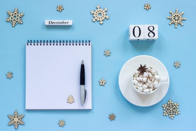 Calendario 8 de diciembre taza de cacao y malvavisco
