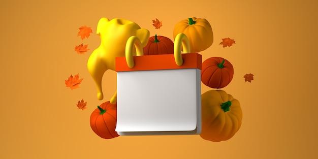 Calendario de acción de gracias con pavo y calabazas. bosquejo. copie el espacio. ilustración 3d.