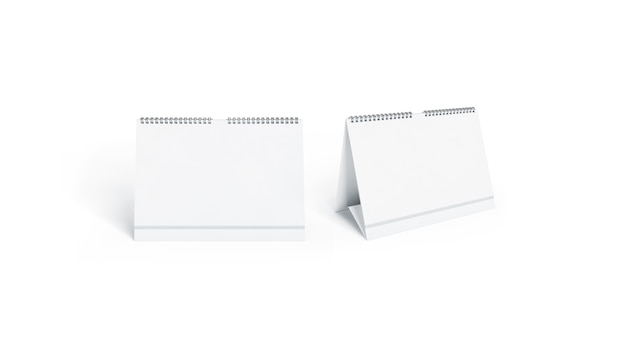 Calendario blanco en blanco simulado conjunto de vista frontal y lateral