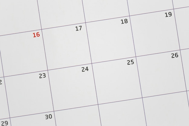 Calendario en blanco para enfocar