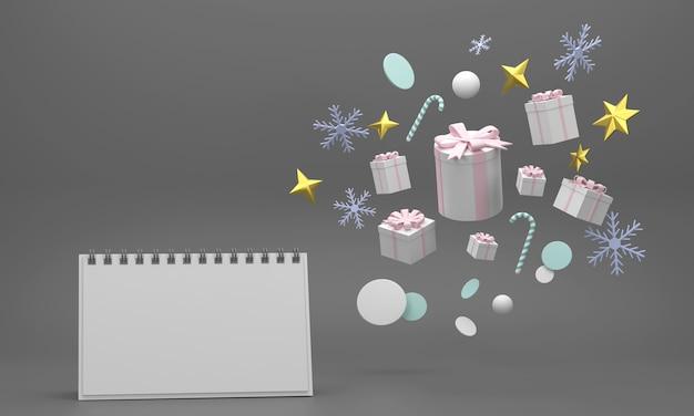 Calendario de celebraciones festivas para la fiesta de navidad y año nuevo bolas de navidad cintas cajas de regalo