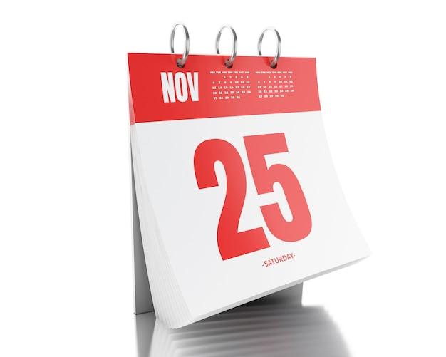 Calendario de día 3d con fecha 25 de noviembre de 2017