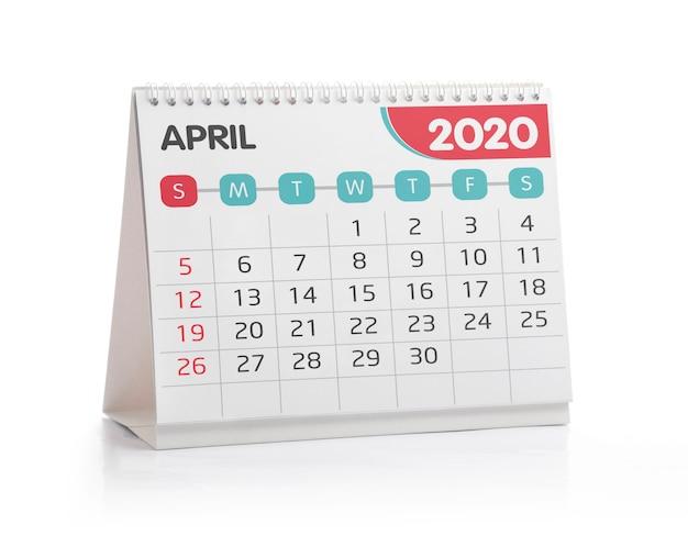 Calendario de escritorio de abril de 2020