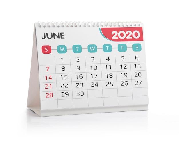 Calendario de escritorio de junio de 2020