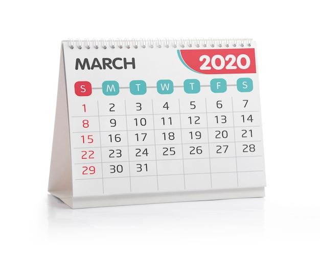 Calendario de escritorio de marzo de 2020