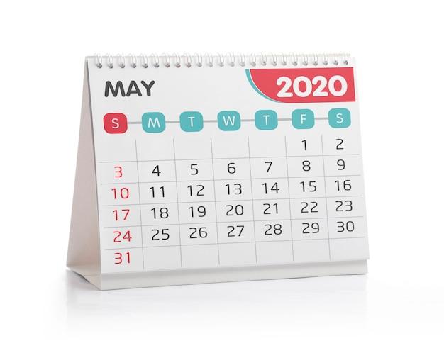 Calendario de escritorio de mayo de 2020
