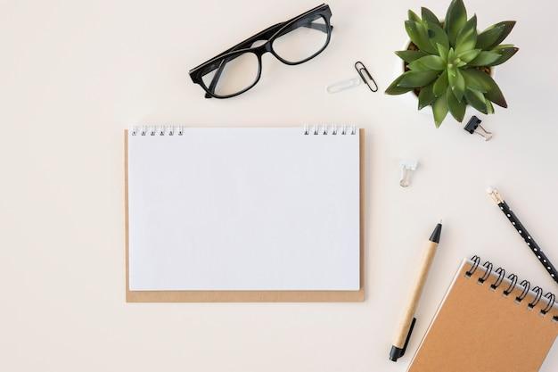 Calendario de espacio de copia de planificador de vista superior