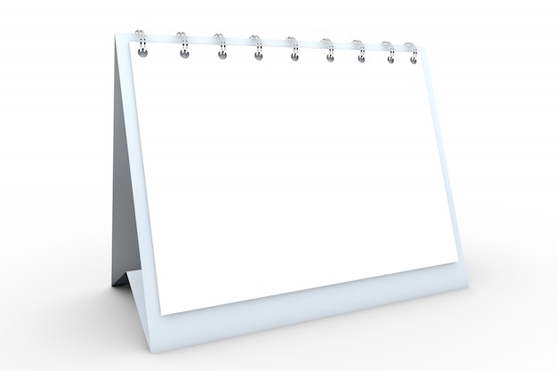 Calendario de espiral de escritorio de papel en blanco