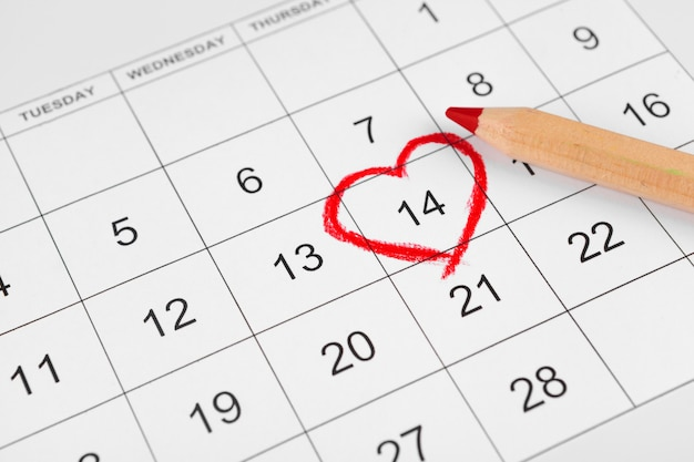Calendario con fecha de san valentín