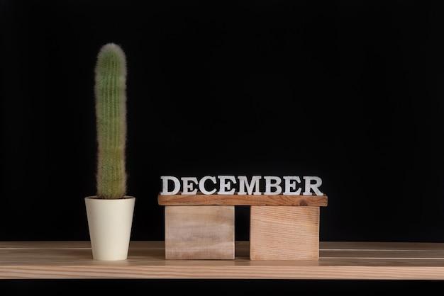 Calendario de madera de diciembre y cactus sobre fondo negro. bosquejo.