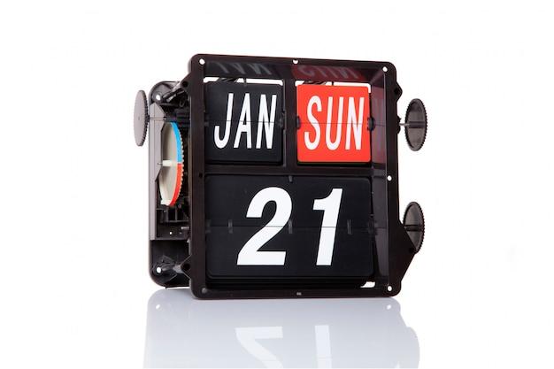 Calendario mecánico fecha retro 21 de enero, en el aislado día nacional de los abrazos.