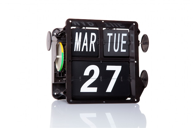 Calendario mecánico fecha retro 27 de marzo, en el aislado día mundial del teatro.