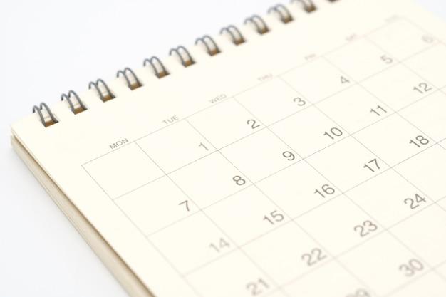 Un calendario del mes. utilizando como concepto de negocio de fondo y concepto de planificación