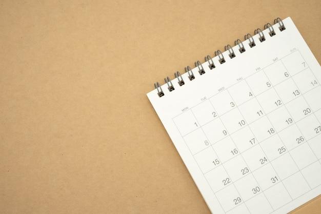 Un calendario del mes. utilizando como concepto de negocio de fondo y planificación