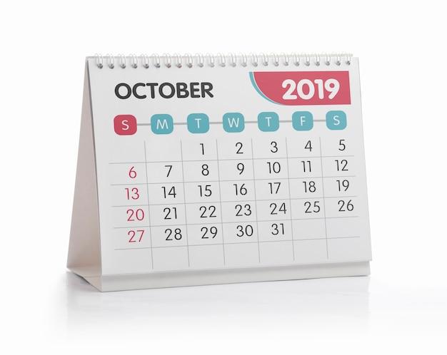 Calendario de la oficina blanca de octubre 2019 aislado en blanco
