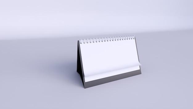 Calendario con páginas en blanco y espiral. vista frontal del calendario de papel horizontal de escritorio