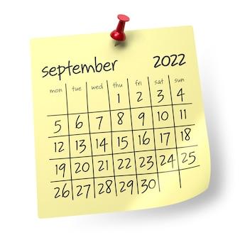 Calendario septiembre 2022. aislado sobre fondo blanco. ilustración 3d