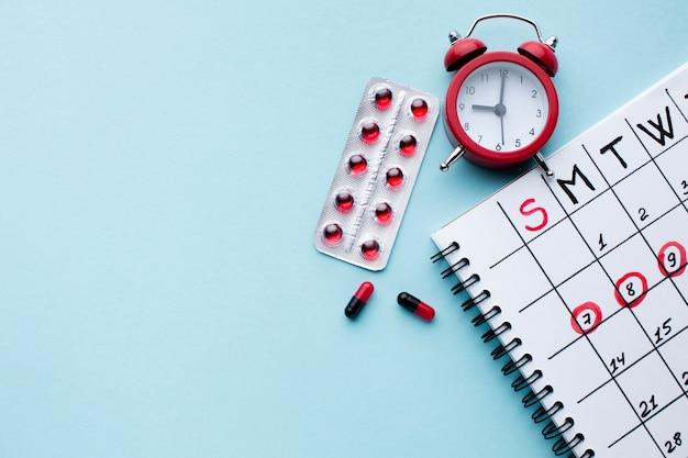 Calendario de tratamiento médico plano