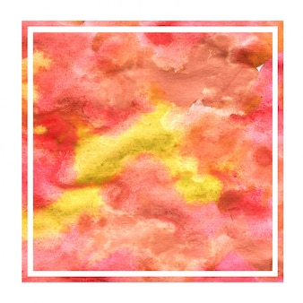 Cálida mano amarilla dibujada acuarela marco cuadrado textura de fondo con manchas