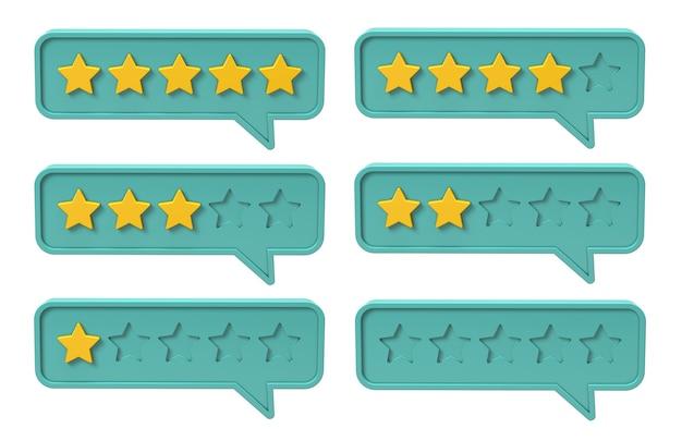 Calificación de cinco estrellas. burbuja con comentarios, calidad. aislado sobre fondo blanco. render 3d.