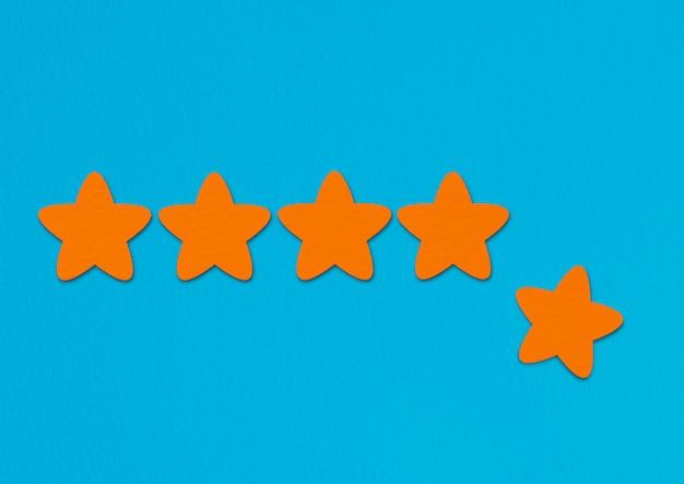 Calificación de estrellas naranjas en azul